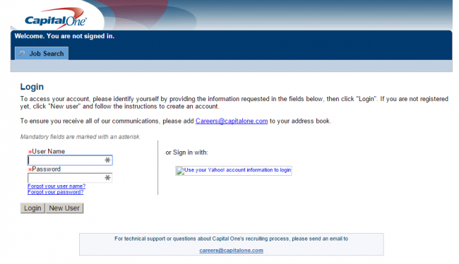 Capital One Application & Employee login