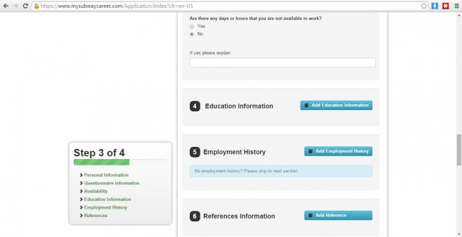 Subway application Education, Work