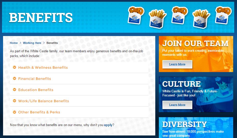 White Castle Application Online benefits