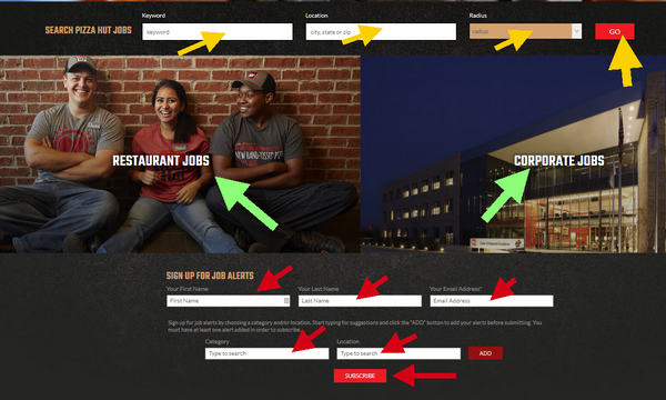 Use the Pizza Hut Application portal to search for the ideal careers for you