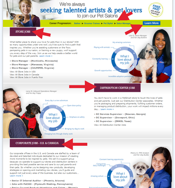 Explore the available options on the PetSmart Application portal