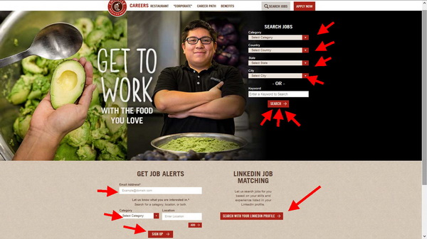 Search for the ideal job for you on the Chipotle application portal