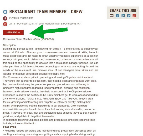 Read the job description for your chosen career and then click on the Apply Now button to begin your Chipotle application