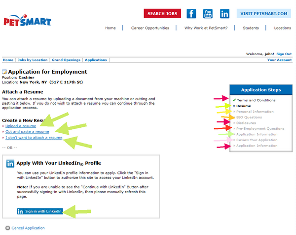 This step of the PetSmart application form requires you to upload your resume