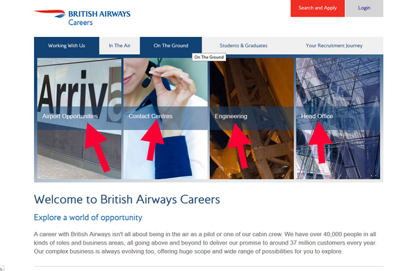 Search for British Airways jobs according to your own criteria