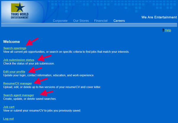 Explore the main menu of the FYE application portal.