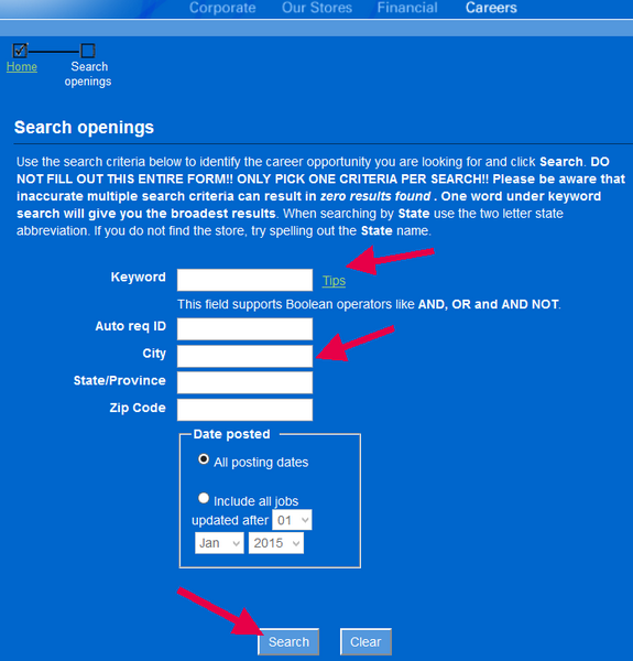 Include a keyword and your location to find the best job for you on the FYE application portal.