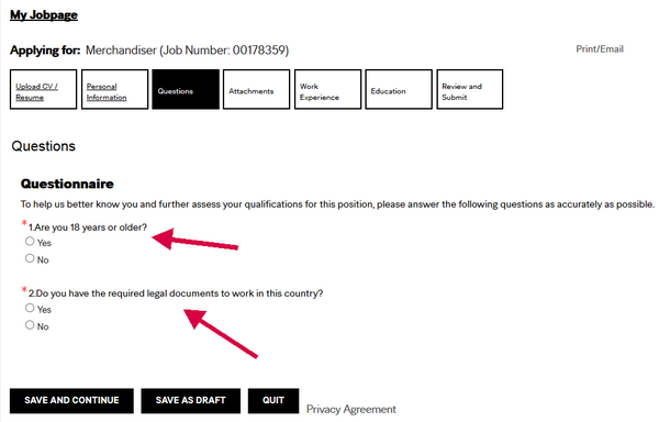Answer these two employment questions for this section of the H&M application form.