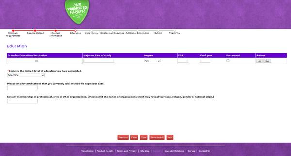 Screenshot of the Chuck E Cheese application process 4