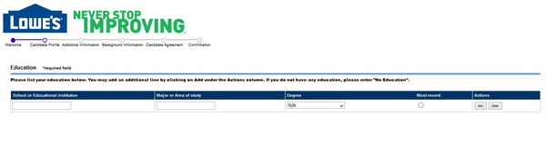 Screenshot of the Lowes application process