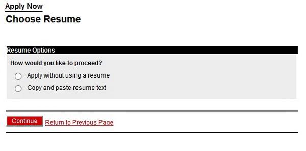 Screenshot of the Autozone Application process