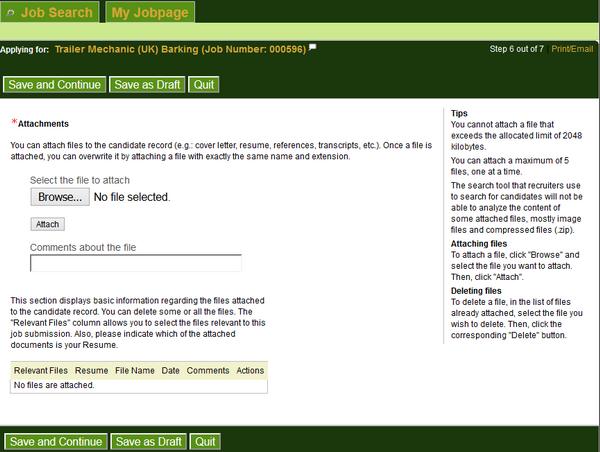 Screenshot of the Ups application process