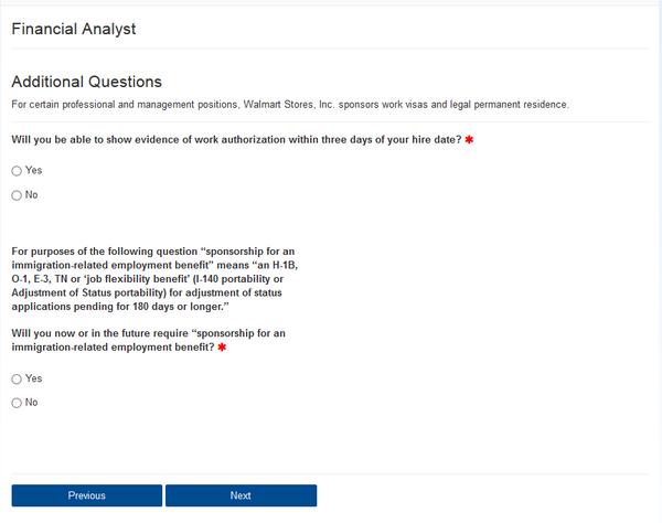 Screenshot of the Walmart application portal