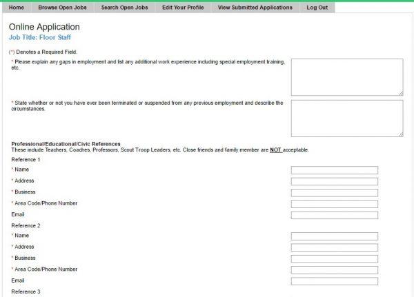 Screenshot of the Regal Cinemas application process