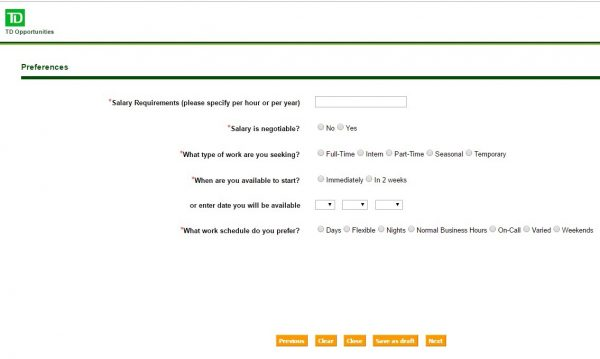 Screenshot of the TD Bank Application Process