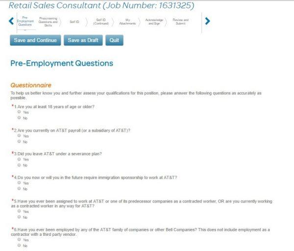 Screenshot of the AT&T application process