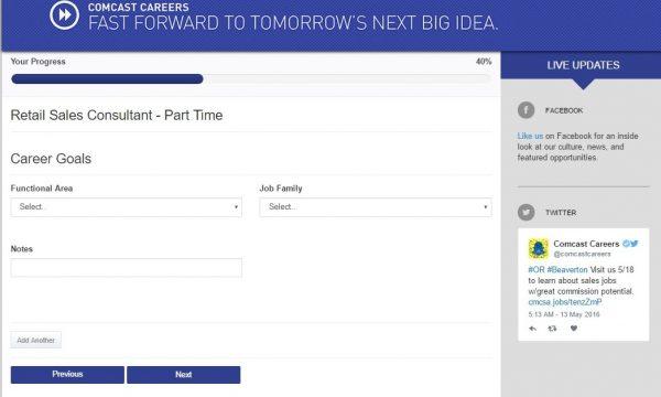Screenshot of the Comcast application process