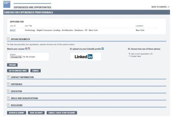 Screenshot of the Goldman Sachs application process