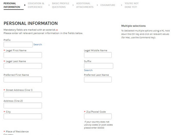 Screenshot of the Morgan Stanley application process