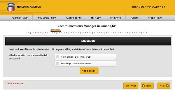 Screenshot of Education section of the Union Pacific application form
