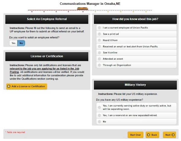 Screenshot of License or Certification section of the Union Pacific application form