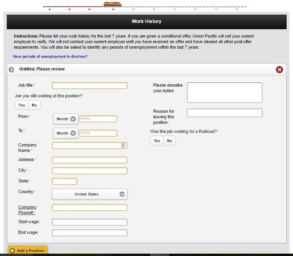 Screenshot of Work History section of the Union Pacific application form
