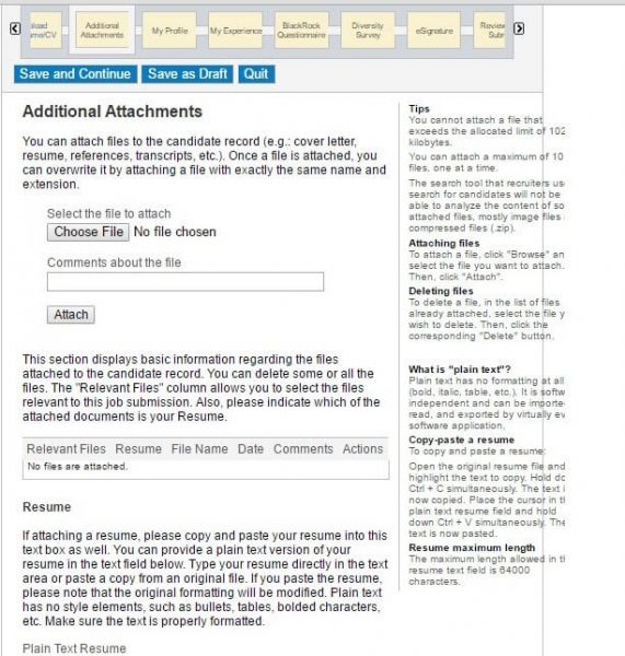 Screenshot of the Additional Attachments section of the BackRock application form