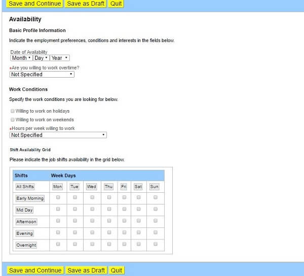 Screenshot of the Availability section of the Toys R Us application form