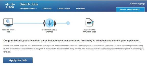 Screenshot of the Cisco application process 1