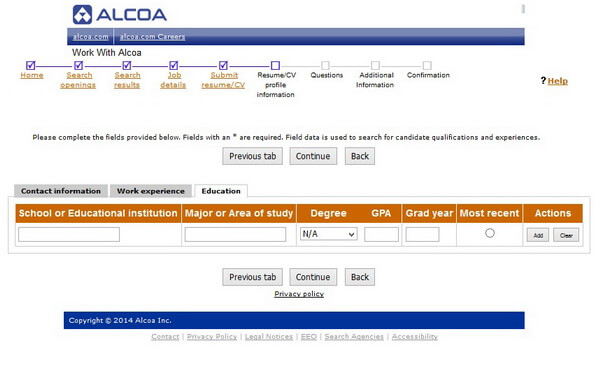 Screenshot of the Education section of the Alcoa application form