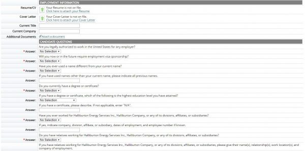 Screenshot of the Halliburton application process