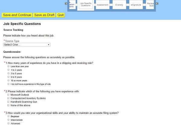 Screenshot of the Job Specific Questions section of the Toys R Us application form