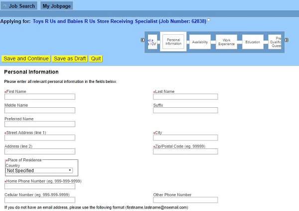 Screenshot of the Personal Information section of the Toys R Us application form