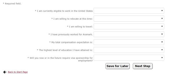 Screenshot of the Pre-Employment Questionnaire section of the Aramark application portal
