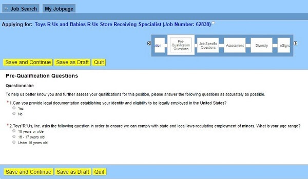 Screenshot of the Pre-Qualification Questions section of the Toys R Us application form
