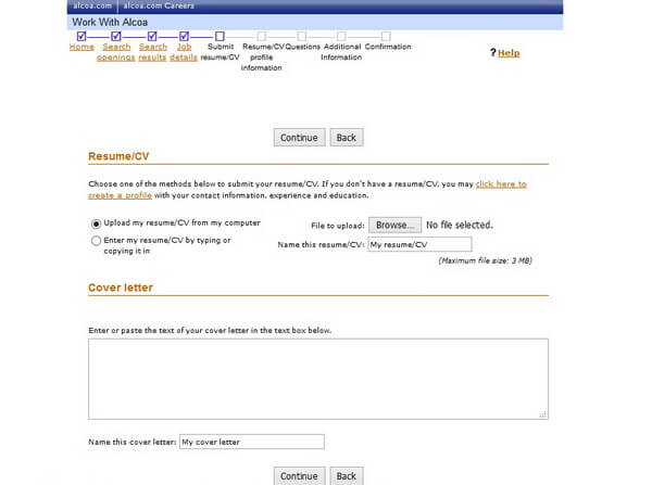 Screenshot of the Submit Resume section of the Alcoa application form