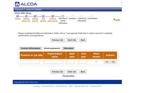 Screenshot of the Work Experience section of the Alcoa application form