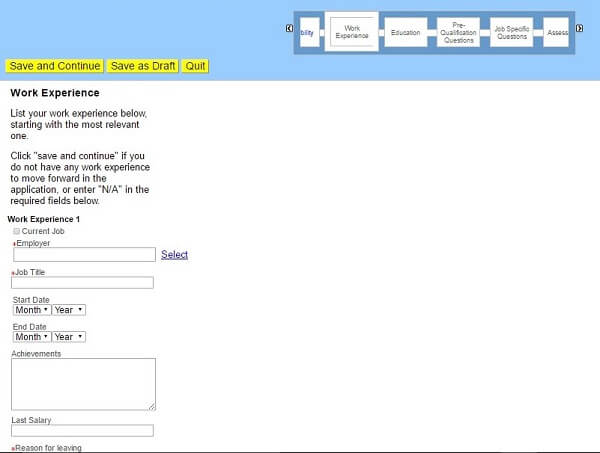 Screenshot of the Work Experience section of the Toys R Us application form