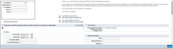 Screenshot of the main page of the Goodyear application form