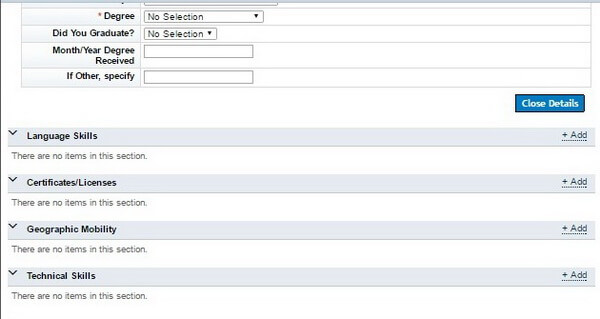 Screenshot of the main sections of the candidate profile on the Goodyear application portal