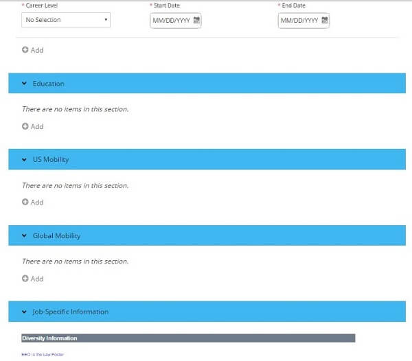 Screenshot of the mobility sections of the CenturyLink application form