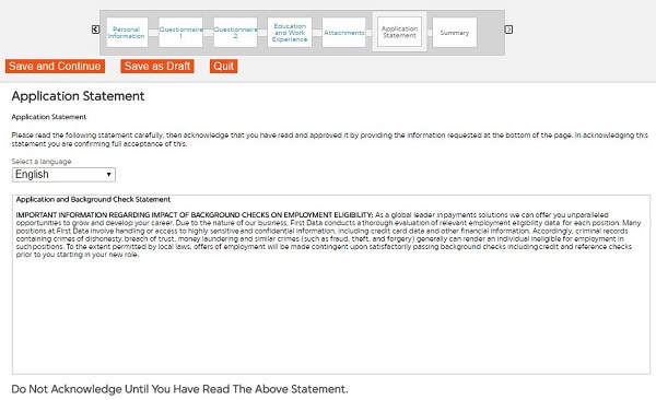 Screenshot of the Application Statement section in the First Data application form