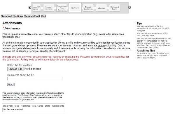 Screenshot of the Attachments section in the Oracle application form