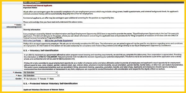 Screenshot of the EEO section in the Phillips 66 Careers Application