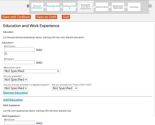 Screenshot of the Education and Work Experience section in the First Data application form