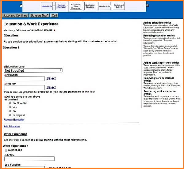 Screenshot of the Education and Work Experience section of the Phillip Morris careers application