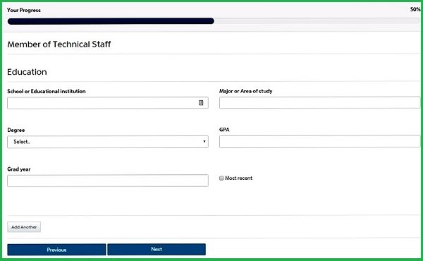 Screenshot of the Education section of the PayPal application form