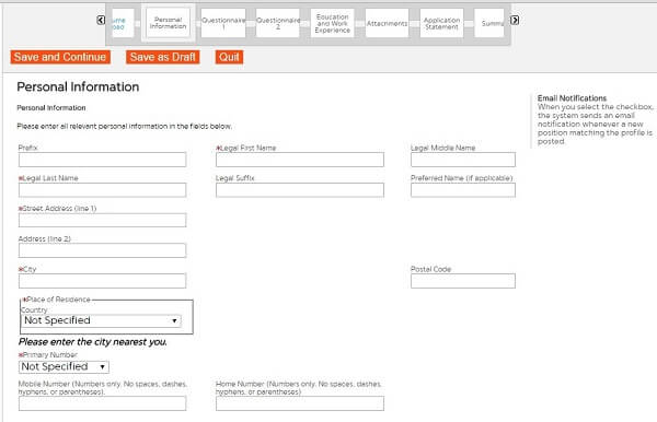 Screenshot of the Personal Information section in the First Data application form