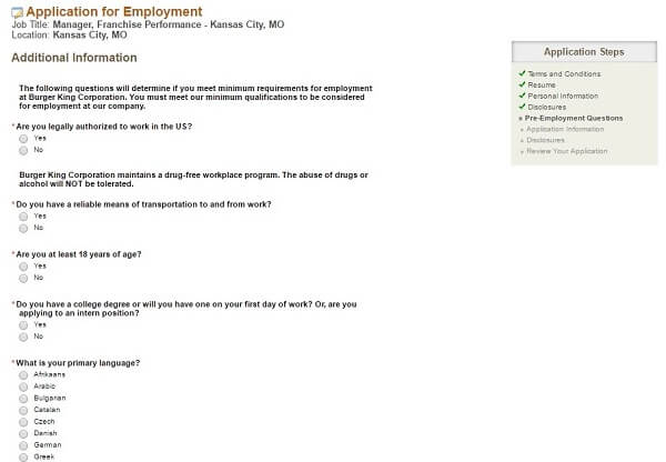 Job Application Letter Quiz