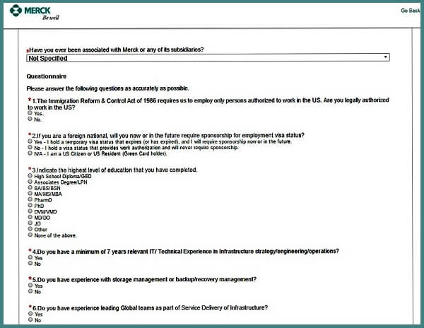 Screenshot of the Questionnaire section of the Merck careers application form